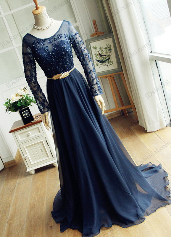 PD16043 Navy blue illusion beaded lace long sleeves long chiffon prom gown 5d2f131c7