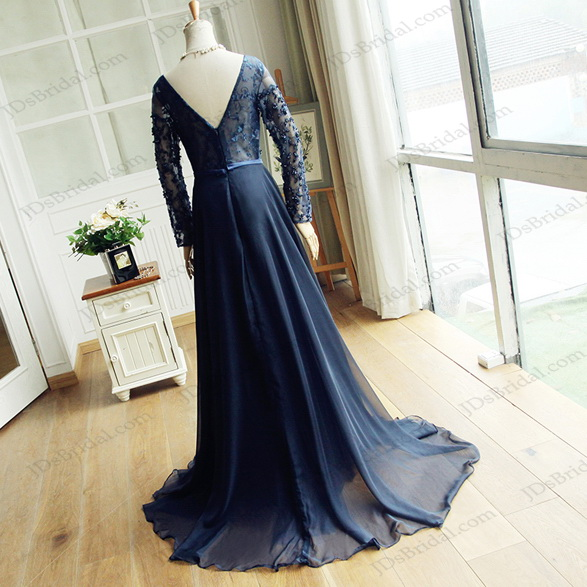 PD16043 Navy blue illusion beaded lace long sleeves long chiffon prom gown