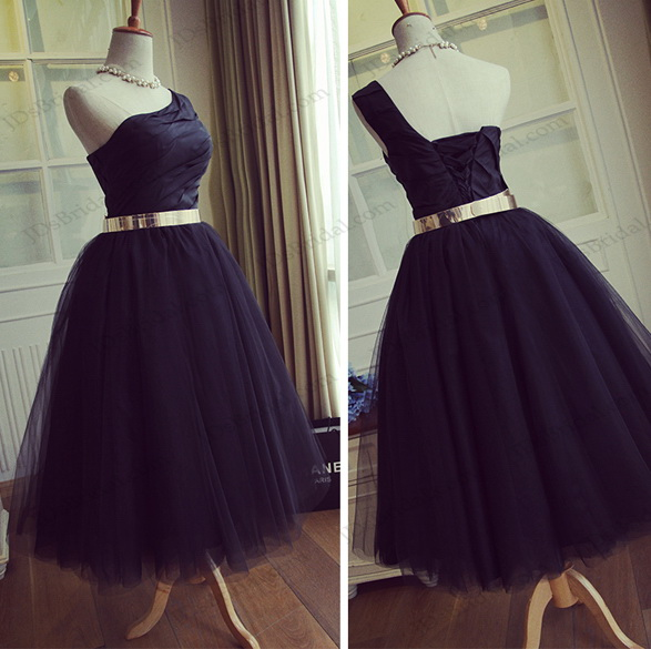 PD16045 One shoulder black tea length tulle party prom dress