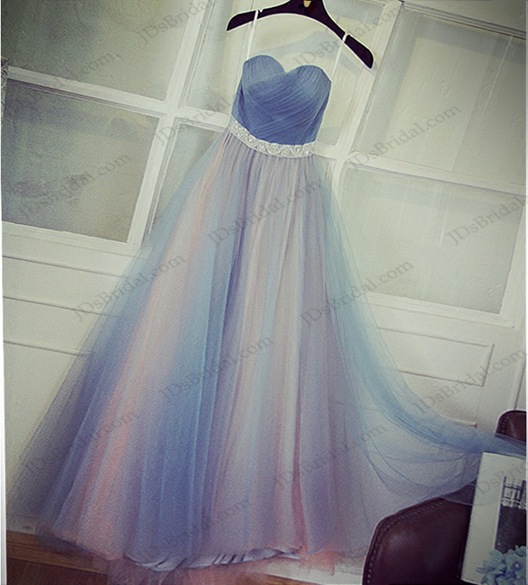 PD16046 blue with blush tone long tulle prom evening dress