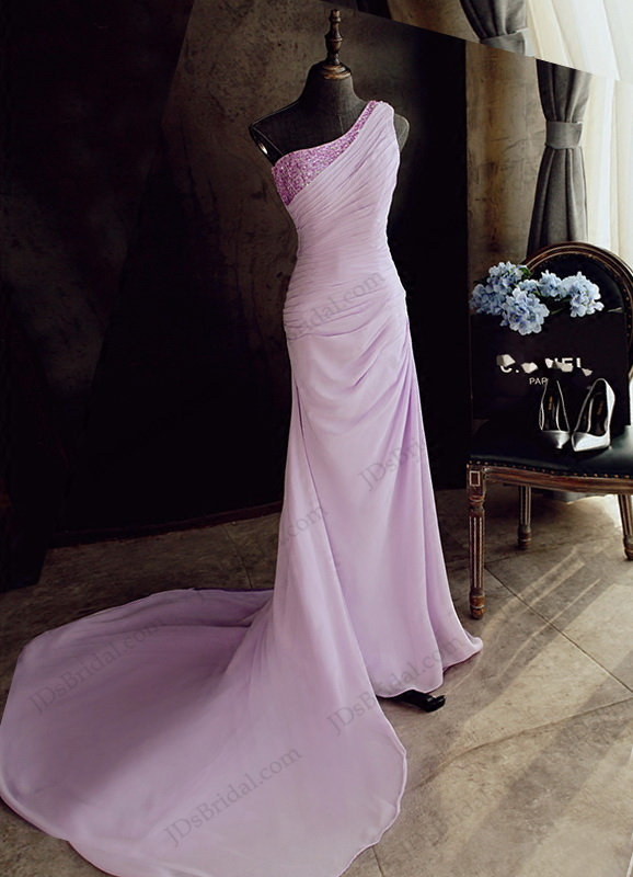 PD16047 goddess one shouder lavender sheath evening prom dress