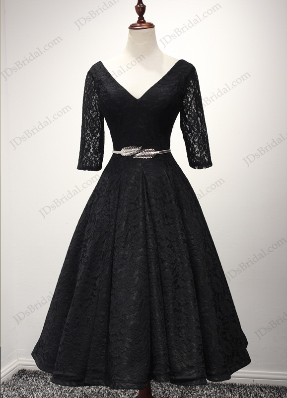 vintage gowns for sale pd16048 vintage style black lace tea length prom dress for 2695