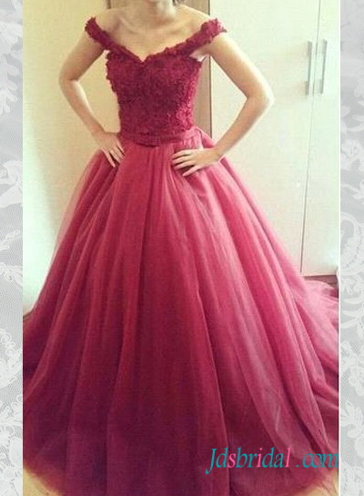 PD16050 burgundy red color lace top tulle skirt prom gown
