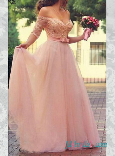 PD16052 Pink color long tulle prom dress with off shoulder