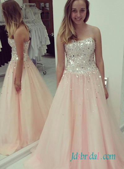 PD16053 Sparkly silvery sequined pink skirt long prom gown