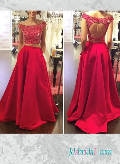 PD16056 two pieces separated red prom dress with pockets