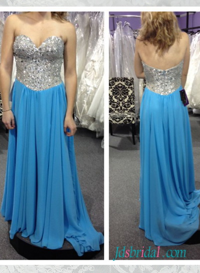 PD16057 blue with sparkly sequined top long chiffon prom gown