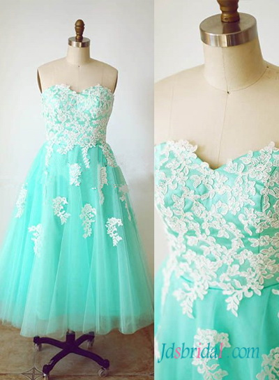 PD16058 Aqua vintage lace and tulle tea length prom dress