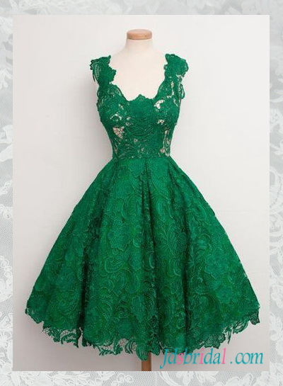 PD16061 Retro 1950s Green tea length illusion lace prom dress