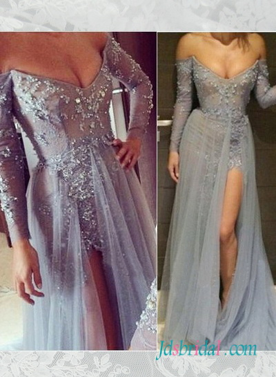 PD16063 Grey color lace prom dress with long sleeves slit skirt :
