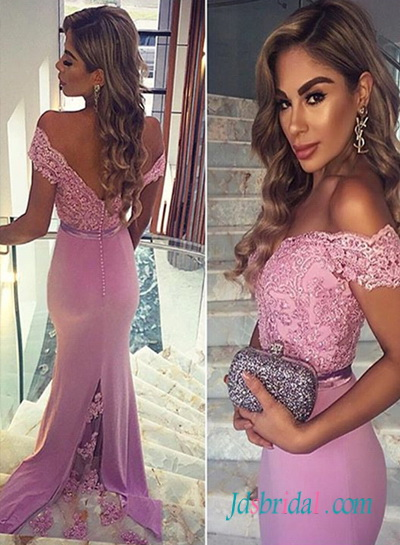 PD16064 lanvender purple off shoulder sheath prom dress