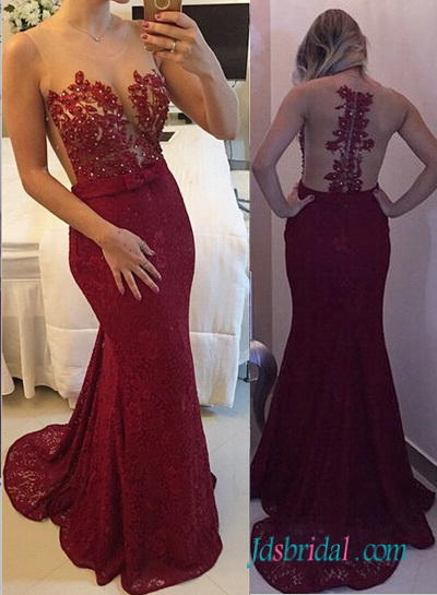 PD16068 Sexy illusion sheer top red mermaid lace prom dress
