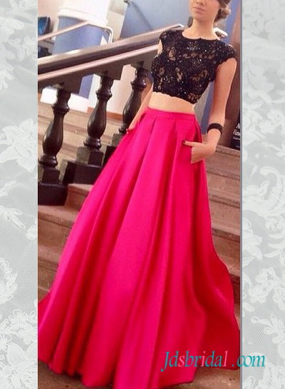 PD16070 Black lace top fushia skirt with pockets prom dress