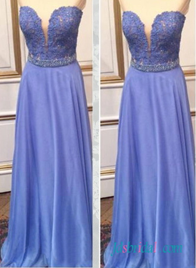 PD16072 Lavender color sweetheart long chiffon prom dress