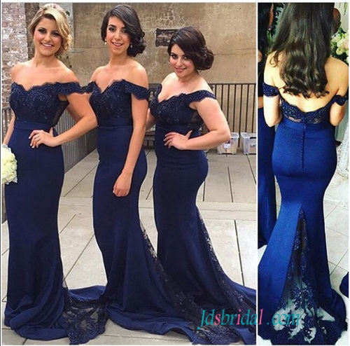 PD16074 Navy blue lace off shoulder sheath prom bridesmaid dress