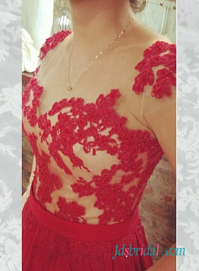 PD16075 Red lace appliques chiffon long prom dress 2016