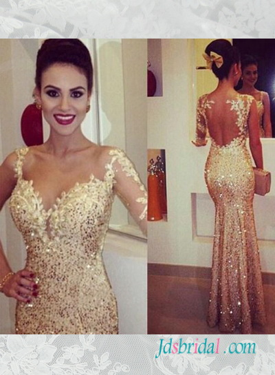 PD16076 Glitter gold seuqined one shoulder sleeves mermaid prom dress