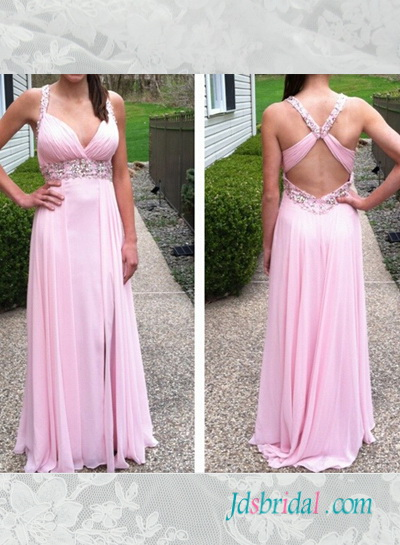 PD16077 Pink color cut out back chiffon slit prom dress