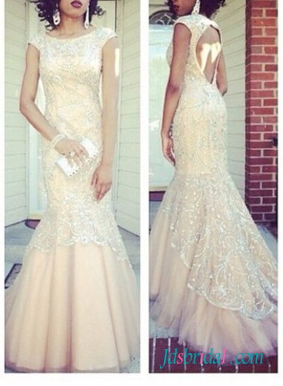 PD16078 2016 champagne color open back lace mermaid prom dress
