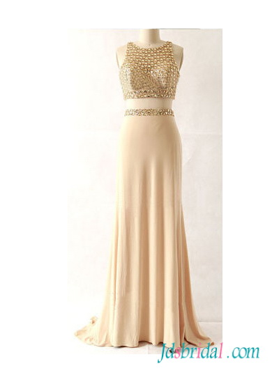 PD16083 Gold champagne color two pieces separat long prom dress