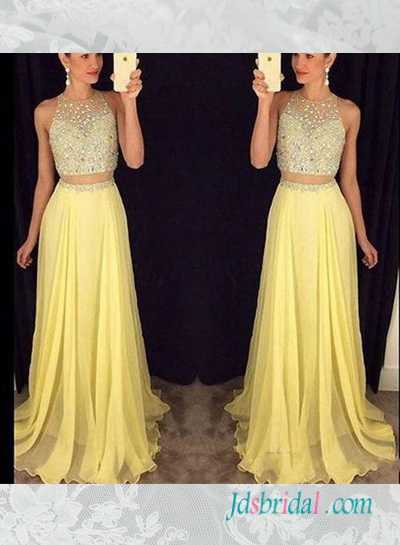 PD16085 yellow color beading illusion top two pieces prom dress