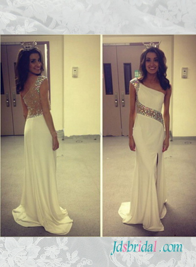 PD16086 Beautiful sparkly sheer back one shoulder ivory slit prom dress