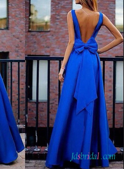 Pd16088 Royal Blow Open Back Bow Taffeta Prom Gown Dress