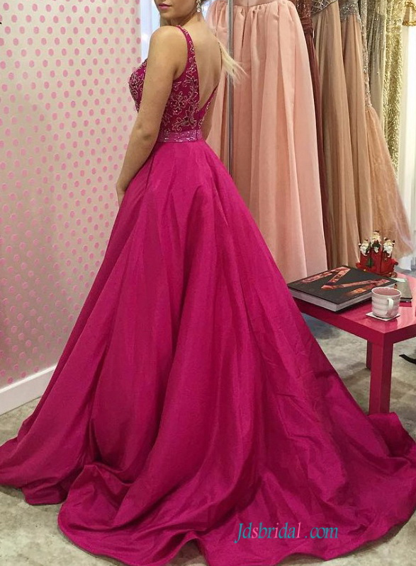 PD16089 fushia color low back taffeta a line prom dress