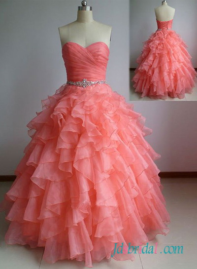 PD16091 peach coral colored organza ball gown prom dress quinceanera