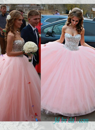 PD16092 Pink sparkly silvery crystals princess ball gown prom wedding dress