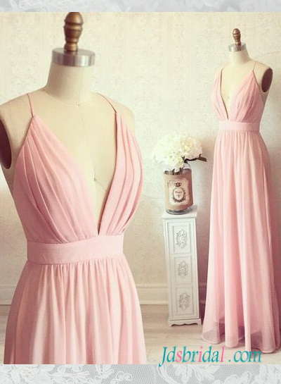 PD16093 simple plunging v neck pink boho maxi long dress prom gown