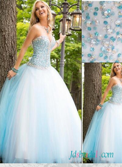 Pd16094 Blue White Colored Beading Accents Princess Tulle Ball Gown Prom Dress