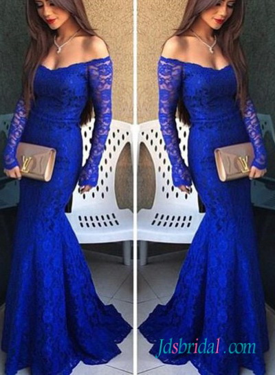 PD16095 Elegant royal blue long sleeved lace sheath prom evening dress