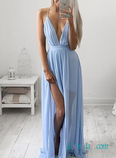 PD16096 Sexy plunging v neckline slit chiffon boho maxi dress