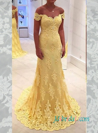 PD16100 Sexy illusion lace back off shoulder yellow lace prom dress