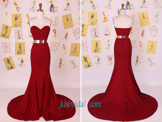 PD16101 Simple elegant red color mermaid long prom evening dress