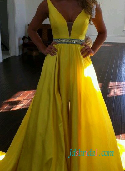 PD16102 Sexy yellow color couture pageant prom evening dress