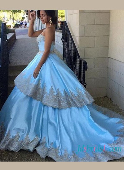 PD16108 Baby blue with gold lace trim layered ball gown celebrity prom dress