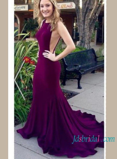 PD16112 Purple open back mermaid evening prom gowns