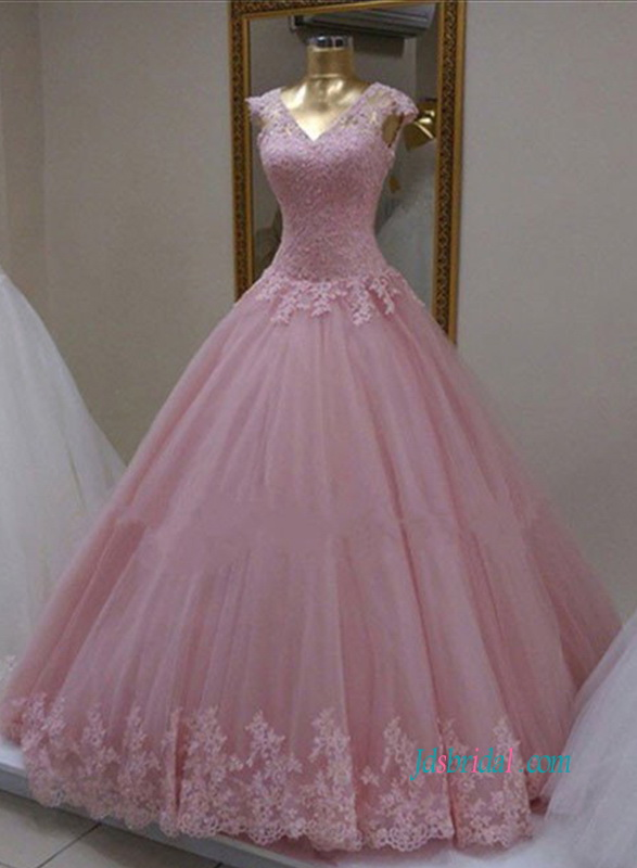 PD18002 Pink lace cap sleeves tulle ball gown prom dress
