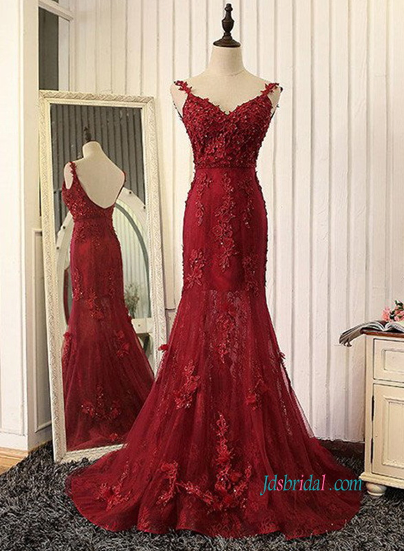 PD18003 Sexy low back burgundy lace prom evening dress