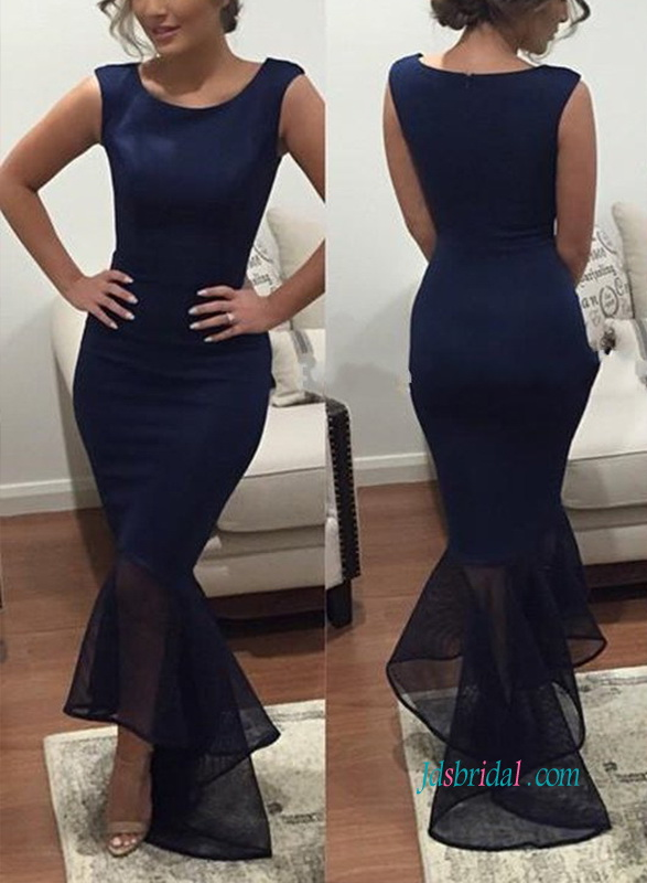 PD18004 Simply navy blue fishtail high low prom dress