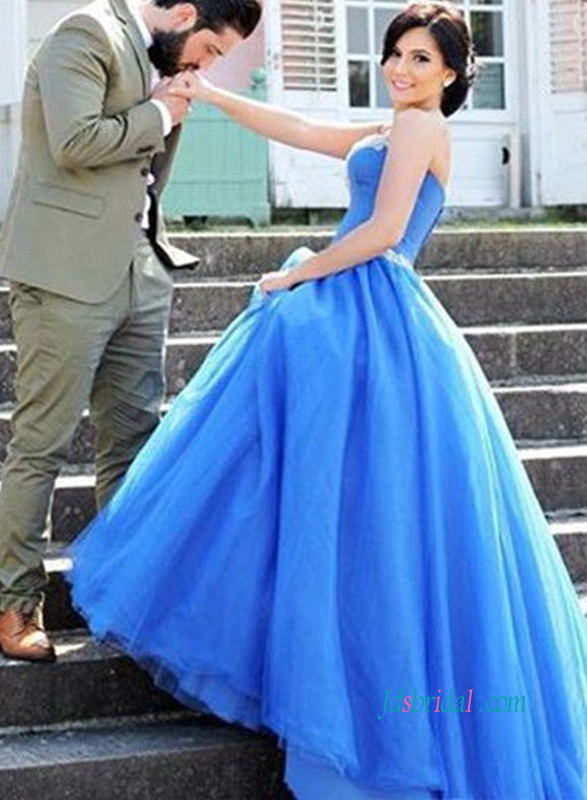 PD18006 Blue strapless sweetheart neck tulle ball gown prom dress :