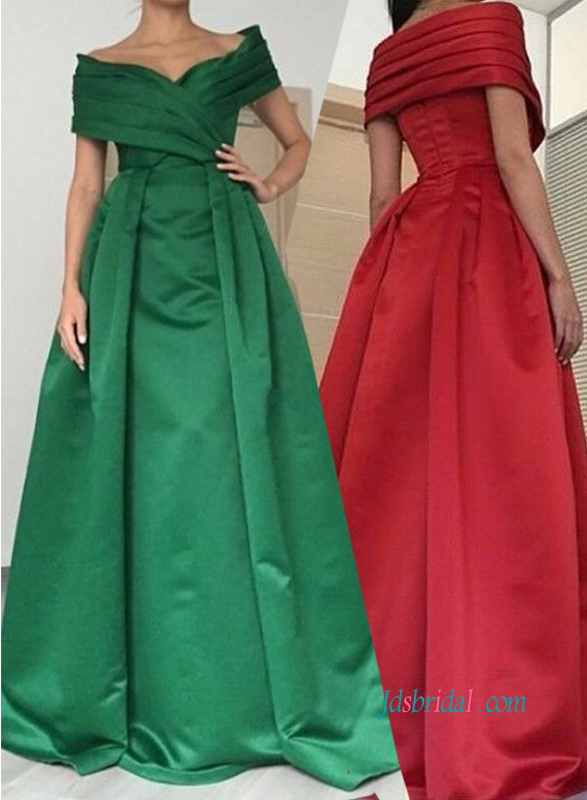 PD18007 Green/ Red off shoulder satin prom dress evening gown