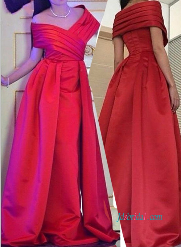 ae19ae06a33b PD18007 Green  Red off shoulder satin prom dress evening gown