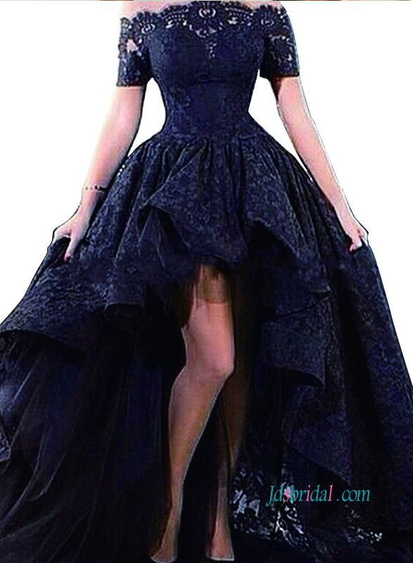 sexy 2018 off shoulder high low skirt lace prom dress long graduation gowns in black color