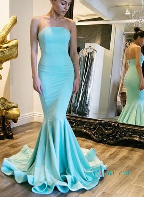 PD18010 Fitted mermaid sky blue strapless satin prom dress