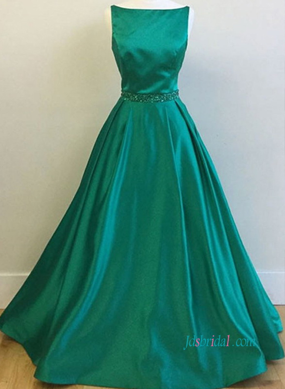 Pd18011 Green Boat Neck Satin Ball Gown Prom Dress