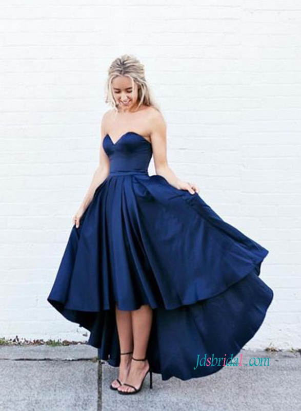 PD18012 Sexy strapless high low prom dress in navy blue