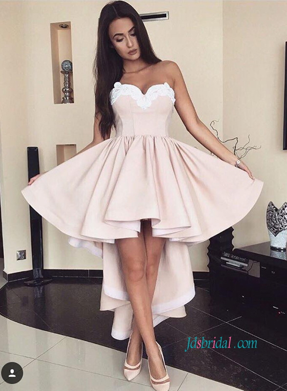 PD18015 Sexy strapless high low short party prom dress